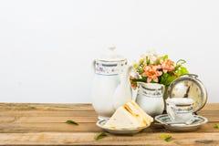 Tea composition, tea set, picture style vintage Stock Photo