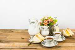 Tea composition, tea set, picture style vintage Royalty Free Stock Photography