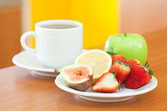 Tea,cookie,apple, Lemon, Fig And Strawberries Royalty Free Stock Photo