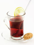 Tea and cookies. Tea, cookies and lemon royalty free stock images