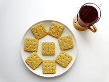 Tea with cookies. Breakfast drink benefit cup Royalty Free Stock Photos