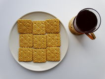 Tea with cookies. Breakfast drink benefit cup Royalty Free Stock Photo