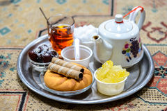 Tea and cookies. Tea House, former Hamam in the Bazar, Kashan Royalty Free Stock Photo