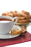 Tea and cookies isolated. Over white stock photography