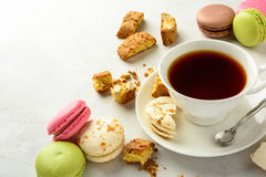 Tea with cookies and macaroоns . Royalty Free Stock Photos
