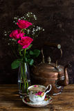 Tea with copper kettle royalty free stock images
