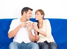 Tea couch sofa couple Royalty Free Stock Photo