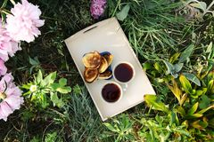 Tea in country style in summer garden in the village. Two cups of black tea and pancakes on wooden tray and blooming peony flowers royalty free stock images