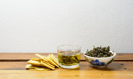 Tea and cracker Royalty Free Stock Images