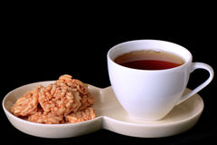 Tea and crispy rice snacks. Royalty Free Stock Photos