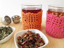 Tea in crocheted tea glasses Stock Images