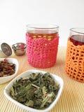 Tea in crocheted tea glasses Stock Photo