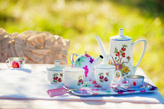 Tea crockery in the garden. Tea crockery served in the spring garden on the white lace table cloth Stock Photo