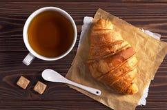 Tea and croissant Stock Photo