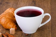 Tea with croissant stock images