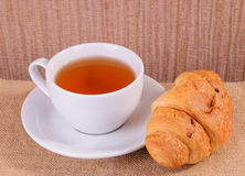 Tea and croissant Royalty Free Stock Images