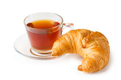 Tea and croissants Royalty Free Stock Photography