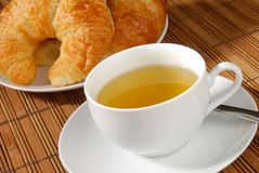 Tea and croissants Royalty Free Stock Photos