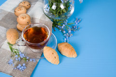 Tea with croissants Stock Photography