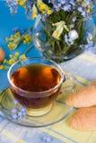 Tea with croissants Stock Photos