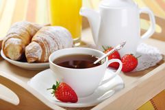 Tea and croissants Stock Image