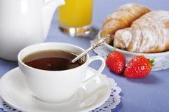 Tea and croissants Royalty Free Stock Photos