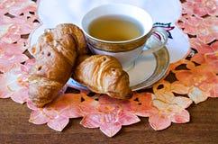 Tea with croissants Stock Photo