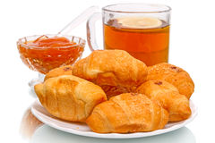 Tea with croissants Royalty Free Stock Photo