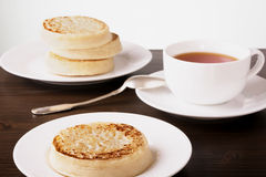 Tea and crumpets Royalty Free Stock Photography