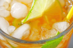 Tea with crushed ice and lime Stock Images