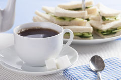 Tea and Cucumber Sandwiches Royalty Free Stock Photos