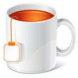 Tea cup. Vector tea cup with teabag Royalty Free Stock Images