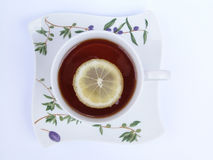 Tea cup. Cup of tea with lemon Stock Photos