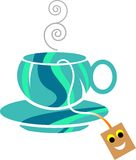 Tea cup. Isolated line art work royalty free illustration