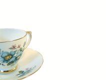 Tea Cup. China tea cup and saucer with blue flower Stock Photography