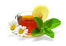 Tea in cup. With leaf mint, lemon and chamomile Stock Photography