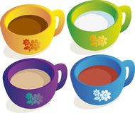 Tea cup. Illustration of coffee, tea, milk, cocoa, chocolate drink Stock Images