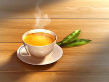 Tea cup. And some fresh tea leaves on a wooden surface. Digital illustration Royalty Free Stock Image