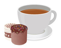 Tea cup. And cakes. For you design Stock Photos