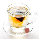 Tea cup. A cup with a tea bag on a white background Stock Photos