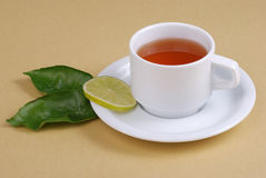 Tea cup. And leaves of lemon Stock Images