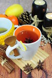 Tea in cup with anise. Herbal tea in cup seasoned with anise Stock Photography