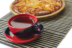 Tea cup and apple pie royalty free stock image
