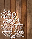 Tea cup background with teapot and jar Stock Images