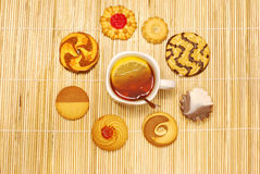 Tea cup with biscuits Royalty Free Stock Image