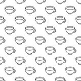 Tea cup black and white seamless pattern Royalty Free Stock Images