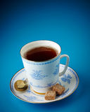 Tea cup and brown sugar cubes Stock Images