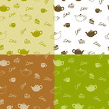 Tea cup cake teapot seamless pattern yellow green brown beige illustration Stock Image