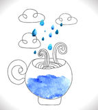 Tea cup with clouds and rain Stock Photos