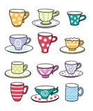 Tea cup. Cup of tea or coffee. On cups different drawings Royalty Free Stock Photos